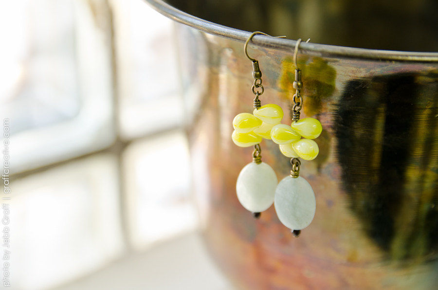 Aquamarine and Citrus Dangle Earrings
