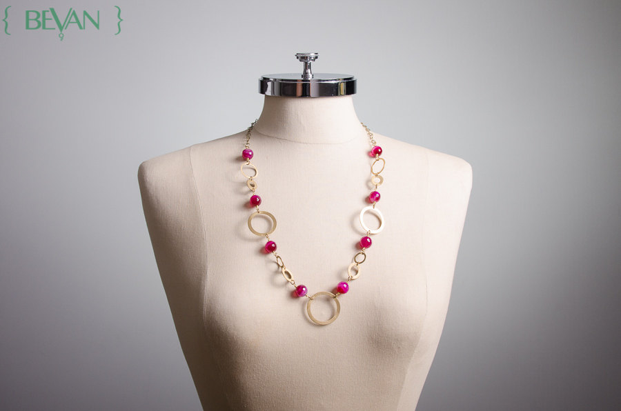 Brilliant Pink Agate and Brass Hoop Necklace