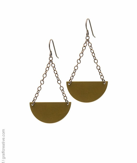 Half Circle Dangle Earrings (Brass)